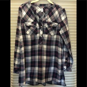 GAP FLANNEL PLAID TUNIC TOP